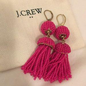 J. Crew Hot Pink Tassel Earrings *Never worn*